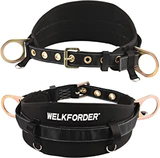 WELKFORDER Tongue Buckle Body Belt with Waist Pad and 2 Side D-Rings Personal Protective Equipment Safety Harness | Waist Fitting Size 32'' to 46'' for Work Positioning, Restraint