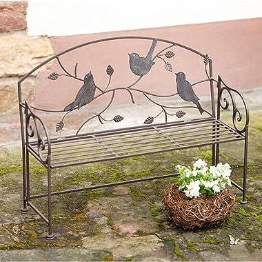Wrought Iron Antique Outdoor Patio Garden Bench Seat, 2-3 seat Portable Patio Bench Park Chair,Beautiful Bird-Shaped Metal lo