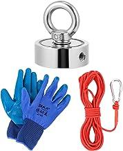 Baluue 1 Set Dubbelzijdige Vismagneten Set Met Grijphaken en Handschoenen Ronde Magneet Voor Magnetisch Vissen