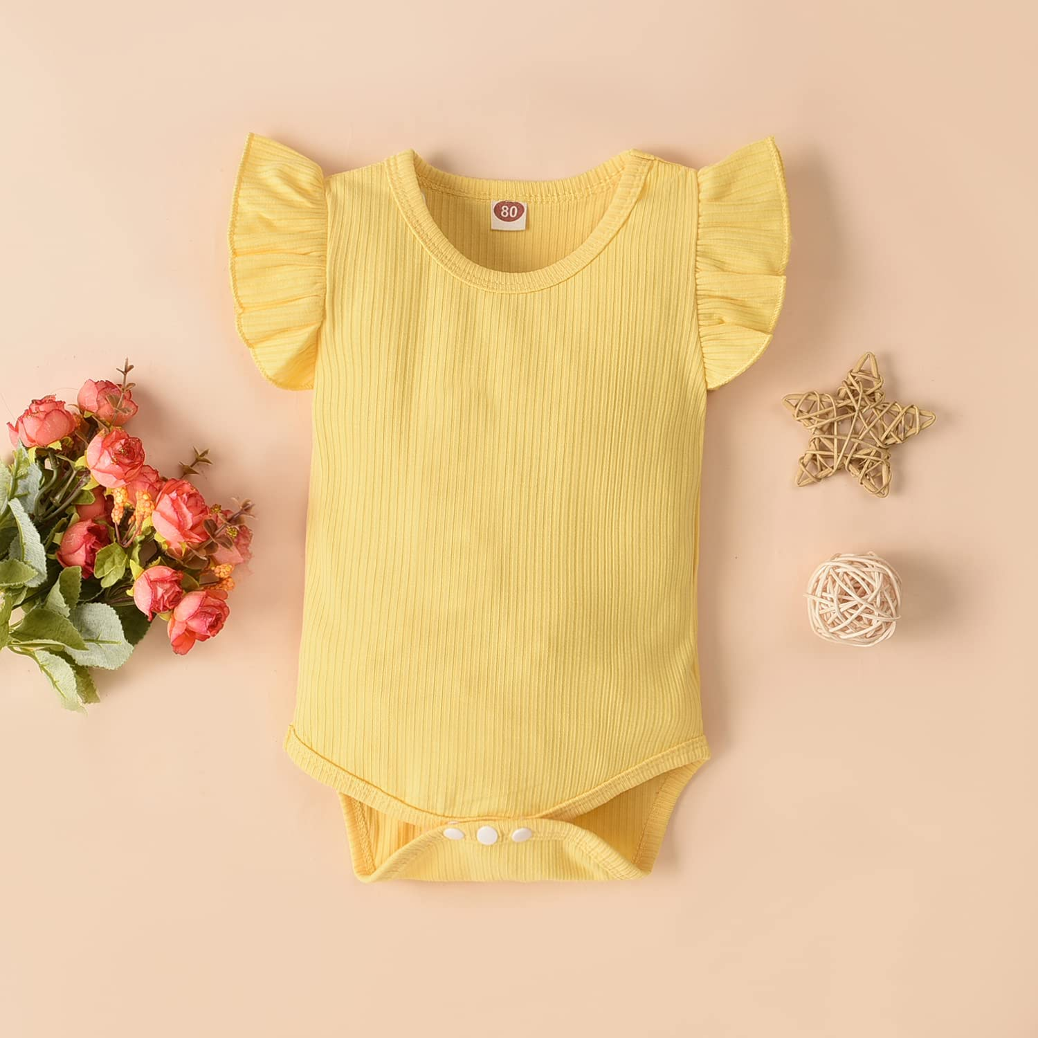 Infant Newborn Baby Girl Floral Summer Outfits Ruffle Short Sleeve Ribbed Romper Suspender Shorts Set with Headband