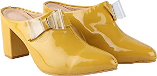 Shoetopia Womens/Girls Block Mules with Bows