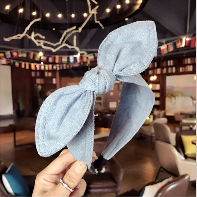 lkpoijuh Hair Accessories Women Denim Bow Headbands Side Knotted Headband Cute Face Wash Hair Hoop Headwear (Color : Light Cowboy)