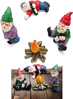 Fairy Garden Drunk Gnomes Miniature Ornaments Set, Mini Resin Garden Gnome Miniatures Dwarf, Mini Dwarf Bonfire Statues, f...