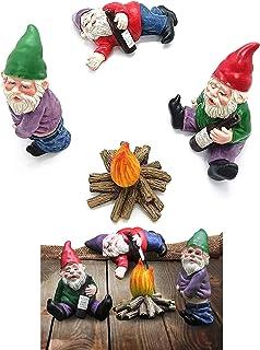 Fairy Garden Drunk Gnomes Miniature Ornaments Set, Mini Resin Garden Gnome Miniatures Dwarf, Mini Dwarf Bonfire Statues, f...