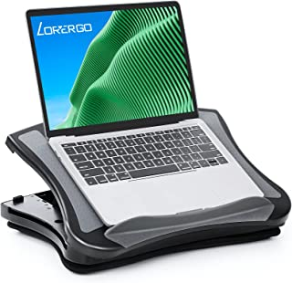 LORYERGO Laptop Tray, Laptop Stand with Cooling Fan, Lap Desk with Cushion, 5 Level Height Adjustable Laptop Stand for Bed...