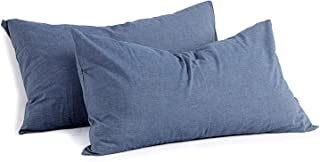 Miu Hin 100% Washed Cotton Pillow Cases, Solid Color Casual Modern Style Envelope Closure Pillowcase Set of 2, Breathable Quality-Durable, Natural Wrinkled Look Pillowcases (Denim Blue, Standard Size)