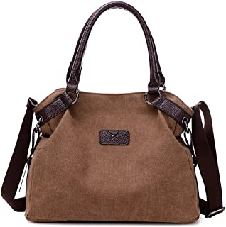 Women's Canvas Crossbody Bag Handbag Lady, Retro Fashion Shoulder Rucksack for Shopping (Color : Brown, Size : M)