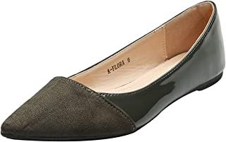 ASHLEY A فلورا أنيق براءات الاختراع بو مدبب راحة الانزلاق على الباليه أحذية مسطحة للنساء, (اوليف), 38 EU