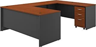 Bush Business Furniture Series C 72W x 30D U Shaped Desk with Mobile File Cabinet in Auburn Maple