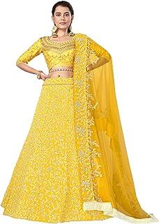 تنورة ليهينغا شولي من الحرير الهندي الأصفر مصممة للحفلات من الحرير مزين بالترتر من Ghagra Lehenga Choli 6232