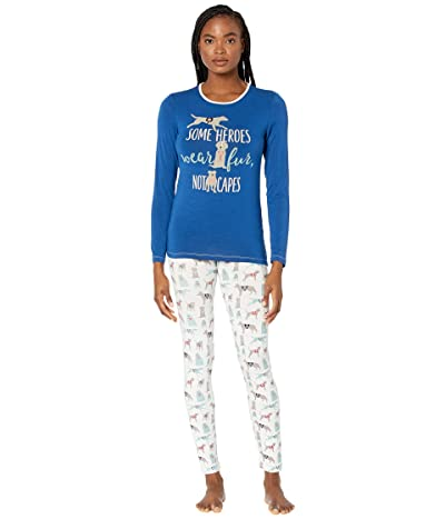 Kickee Pants Long Sleeve Fitted Pajama Set (Natural Canine First Responders) Women