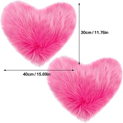 2 Pieces Fluffy Faux Sheepskin Area Rug Heart Shaped Rug Fluffy Room Carpet for Home Living Room Sofa Floor Bedroom, 12 x 16 Inch (Rose Red)