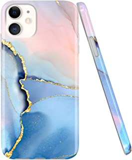 JAHOLAN iPhone 11 Case Gold Glitter Sparkle Marble Design Clear Bumper TPU Soft Rubber Silicone Cover Phone Case for iPhone 11 6.1 inch 2019 - Blue
