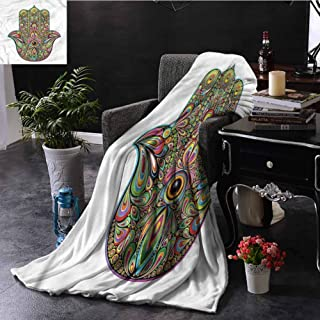 SSKJTC Hamsa Grey Throw Blanket Psychedelic Groovy Pattern Couch Bed Napping Reading Recliner W50 xL60