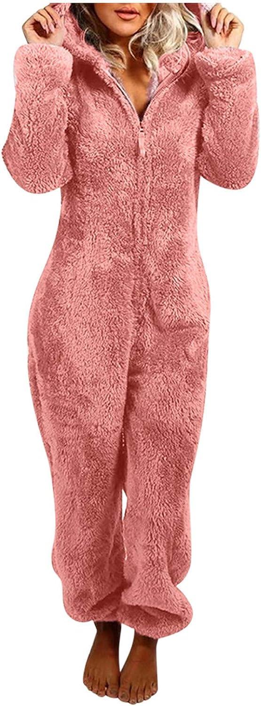 Women Zip-up Hoodie Plush Long Sleeve Pajama One Piece Bodysuits Outfits Sleepwear Hooded Jumpsuit