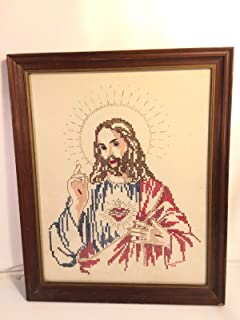 Jesus Stigmata For Cross Stitch For Vintage Needlepoint Framed Fabric Sewing