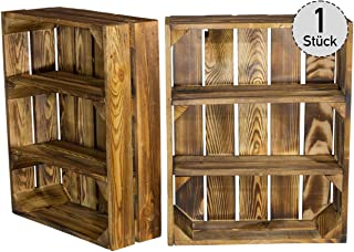 Estantería plana veteada con 3 compartimentos, estantería de madera de pared, para especias y fruta, estantería de presentación, 50 x 40,5 x 16 cm