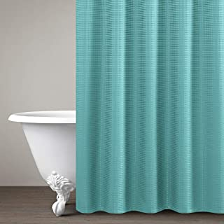 """Lazzzy Shower Curtain Metal Grommets Top for Bathroom Waterproof Waffle Weave Textured with Rust-Resistant Metal Grommets Top Shower Curtains Shower Drapes 1 Panel 72"""" Turquoise Blue"""