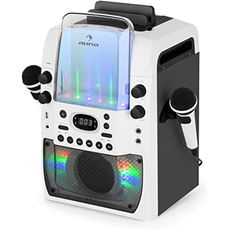 AUNA Kara Liquida BT Grey - Chaîne karaoké, LED Multicolores, Show Lumineux, Bluetooth, Lecteur CD lisant Les CD+G, Port USB, MP3, Enceinte intégrée, Gris