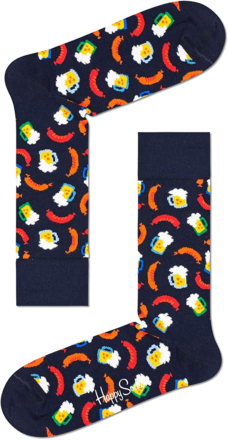 Happy Socks Unisex Printed Beer and Sausage Combed Cotton Socks