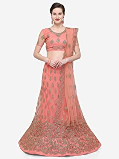 bc785c4fa5 Bhavyam heavy Semi Stiched Embroidered work Net Lehenga Choli for women at  wedding party