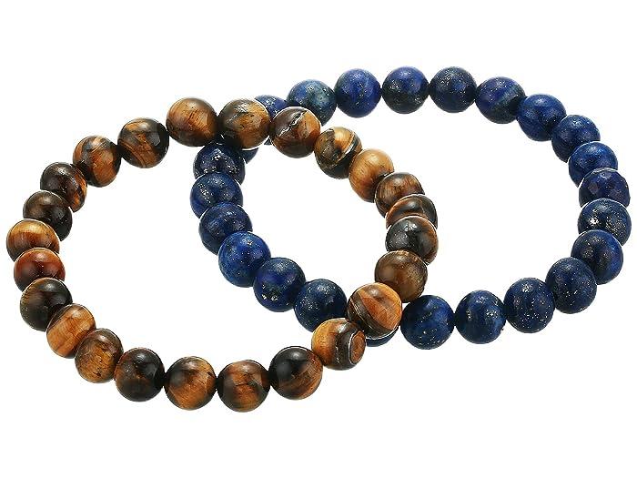 Dee Berkley  Spiritual Compass Duo Tiger Eye Bracelet Set (Brown/Blue) Bracelet