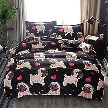 Animal Cartoon Theme Duvet Cover Sets Cute Bull Dog Heart-Shaped Pattern Duvet Cover Ultra Soft Breathable Polyester Fiber...