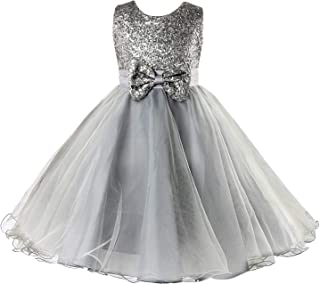 Sequin Princess Dress, Sleeveless Tutu Tulle Birthday Party Dress with Bow Tie for Little Girls