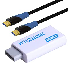 Rantecks Wii to HDMI Converter Wii HDMI Converter with 1080P/720P Video Output and 3.5mm Audio + 1M HDMI Cable for Nintendo Wii-White