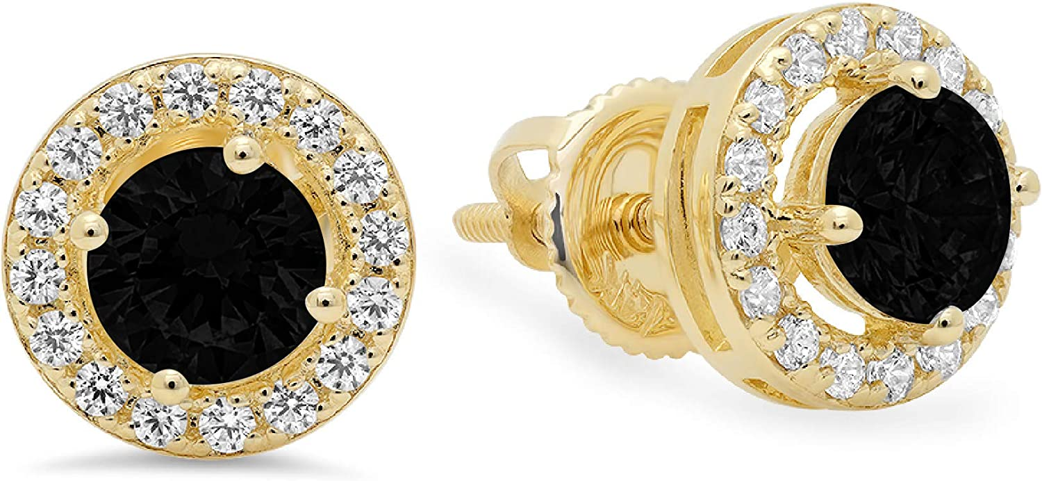 Clara Pucci 1.60 ct Brilliant Round Cut Halo Solitaire VVS1 Fine Natural Black Onyx Gemstone Pair of Solitaire Stud Screw Back Earrings Solid 18K Yellow Gold