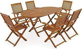 Deuba Ensemble de Jardin 6+1 en Bois d'acacia Boston 1 Table et 6 chaises Pliables Salon de Jardin