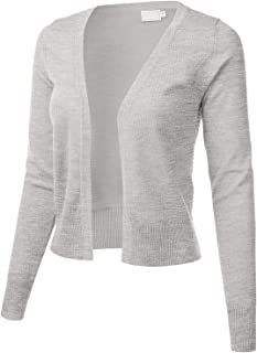 FLORIA Womens Cropped Open Front Bolero Shrug Long Sleeve Knit Cardigan (S-XL)