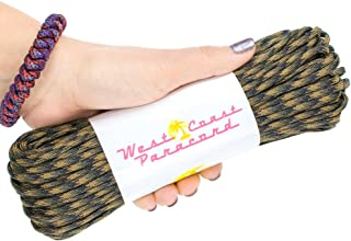 West Coast Paracord 7-Strand 550lb Break Strength-Guaranteed US Made Type III Survival Cord - 30+ Colors to Choose from - Available in 10, 25, 50, 100, 1000 ft