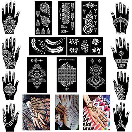 Xmasir Pack of 16 Sheets Henna Tattoo Stencil / Templates Temporary Tattoo Kit,Indian Arabian Self Adhesive Tattoo Sticker for Hand Body Paint