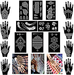 Pack of 16 Sheets Henna Tattoo Stencil/Templates Temporary Tattoo Kit,Indian Arabian Self Adhesive Tattoo Sticker for Hand...