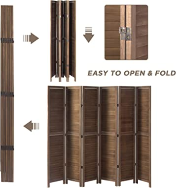 oneinmil 5.6ft Tall Wood Room Divider with 6-Panel Folding Privacy Screen Indoor DIouble Hinged Partition Room Dividers, Brow