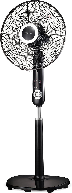 Grunkel - FAN-B16TECSILENCE - Ventilador de pie programable con Mando a Distancia y Temporizador hasta 7,5 Horas. 6 velocidades y 3 Modos - 60W - Blanco… (Negro)
