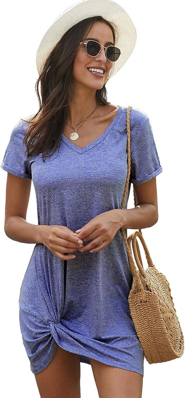 Effeltch Womens Round Neck Twist Knot Short Sleeve T-Shirt Dress Summer Casual Draped Front Twist Midi Dresses