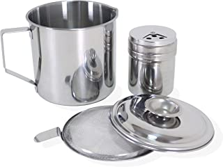 Operandi Bacon Grease Container with Strainer to Filter Oil and Save Grease - Great for Storing Fats, Cooking Oil and Drippings and Includes Seasoning Shaker