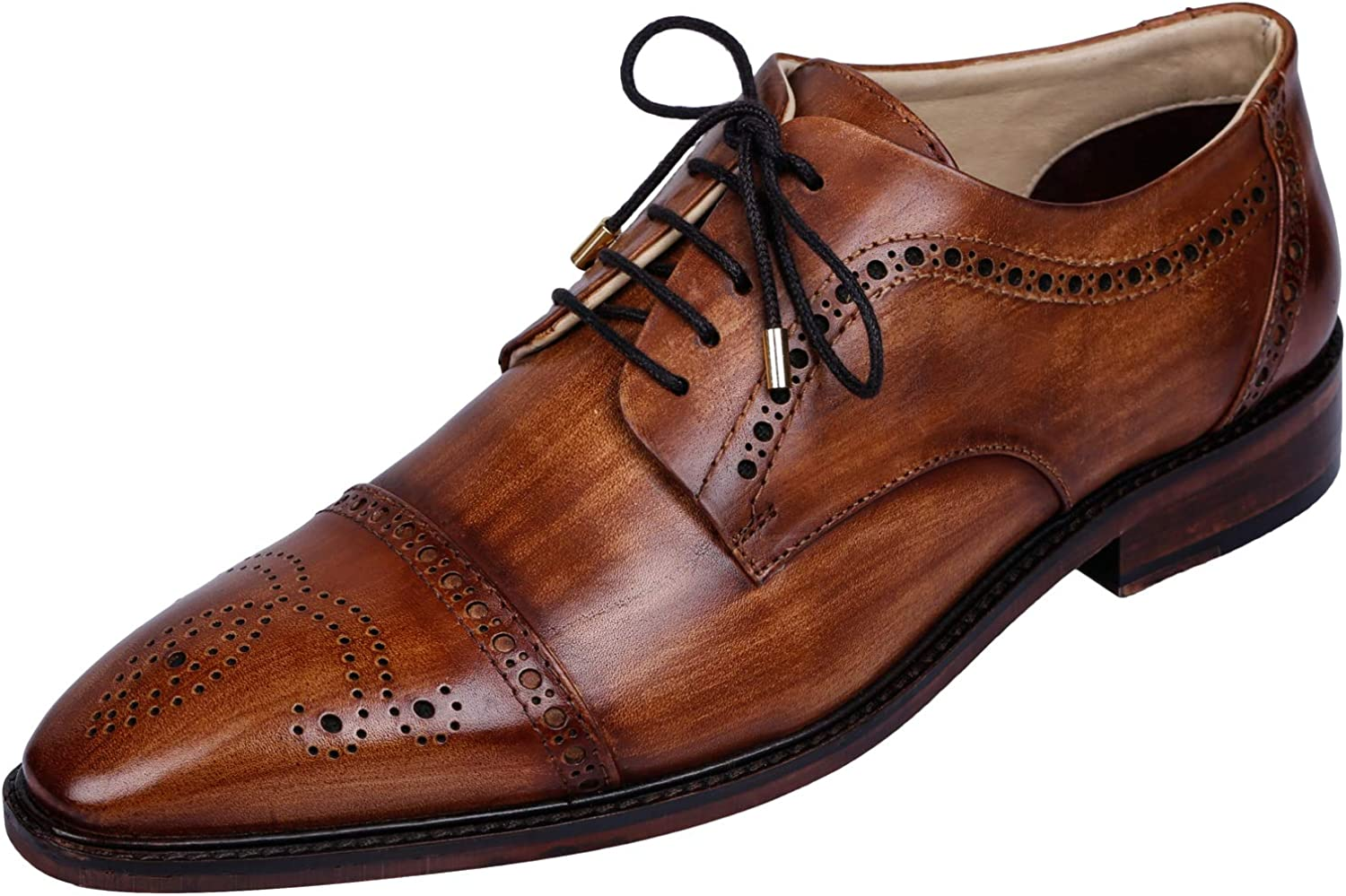 Lethato Handcrafted Mens Brogue Captoe Oxford Derby Genuine Leather Lace up shoes with golden color Metal Aglets shoeslace Tips