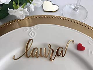 Gold Wedding Place Cards Personalized Acrylic Laser Cut Names Place name settings Guest name tags Wedding Signs Calligraphy Modern New Font Wood Decorations Wooden Centerpieces Dinner Party Decor