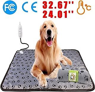 wangstar Oversized Pet Heating Pad 32.67''x24.01''& Warm Blanket 39.37''x23.62'', Dogs Cats Indoor Electric Adjustable Warm Mat Sets Chew Resistant Waterproof 2pcs