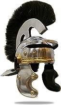 Medieval Roman Centurion Helmet with Black Plume Crest, Chrome, 17.5