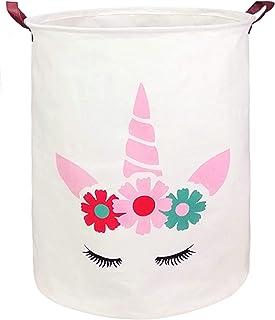 KUNRO Large Sized Round Storage Basket Waterproof Coating Organizer Bin Laundry Hamper for Nursery Clothes Toys (Pink Horn Unicorn)