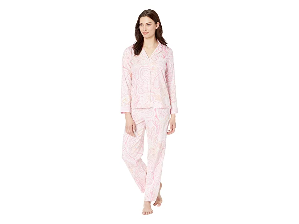 LAUREN Ralph Lauren Pointed Notch Collar Pajama Set (Pink Paisley Print) Women