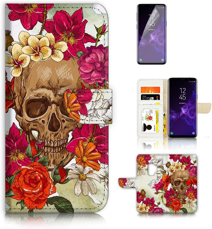(for Samsung Galaxy S9) Flip Wallet Case Cover & Screen Protector Bundle - A20133 Sugar Skull