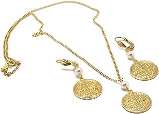 Set LUCK collana orecchini di perle Swarovski oro perlato ottone trefle oro 24k riempito 14k resina regali di Natale mamma...