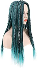 Karlery Women Long Braid Blue and Black Mixed Wig Halloween Cosplay Wig Anime Costume Party Wig