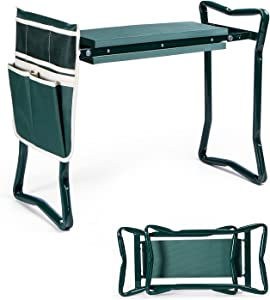COFOETLN Upgraded Garden Kneeler and Seat, Foldable Garden Stool, Portable Gardening Stools with Thicken & Widen EVA Soft Kneeling Pad, Heavy Duty Garden Small Bench and Large Tool Pouch