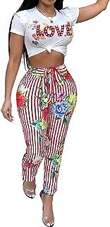 Women's Vertical Striped High Waist Stretch Wide Leg Long Bottom Pants with Waist Tie